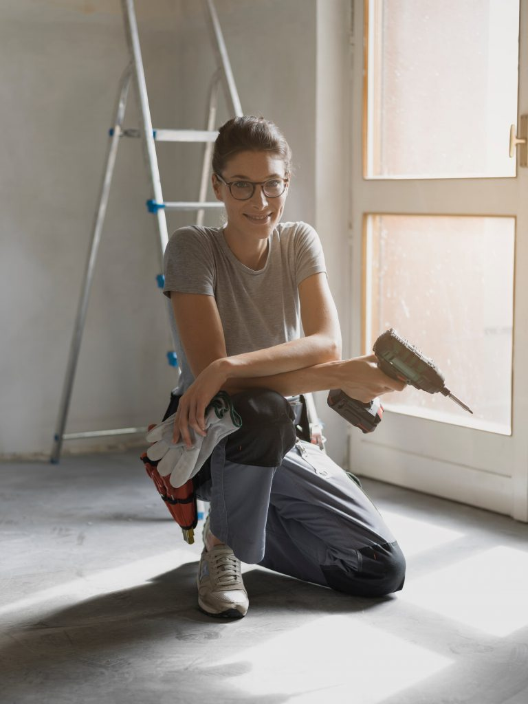 woman remodeling her home
